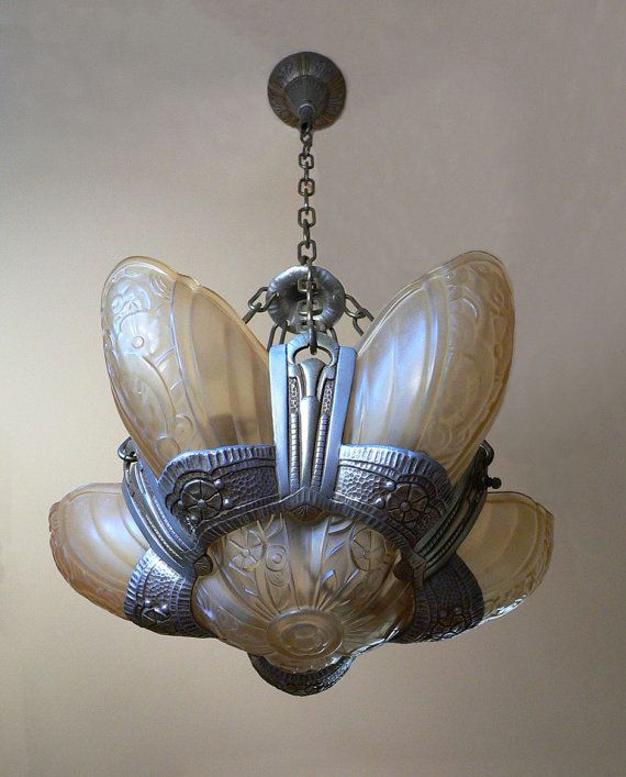 Antique Lincoln Art Deco slip shade chandelier from by Deconites