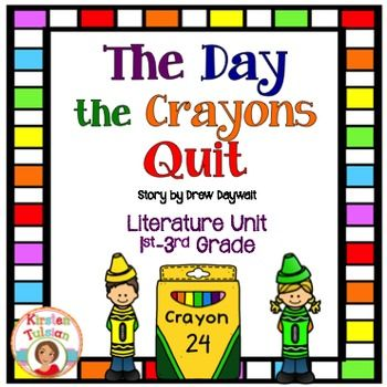 The Day the Crayons Quit, by Drew Daywalt is Common Core aligned and used to teach: compare and contrast, character traits, main idea/comprehension, adjectives, writing a friendly letter, writing and opinion piece, types of sentences, verb tenses, and editing.