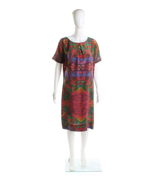 """Roupa Pemmaraju Forrest dress. 100% silk knee length short sleeve shift dress with art work designed by indigenous Australian artist """"Jimmy Pike"""" Winter 2013 collaboration with designer """"Roupa Pemmaraju """"-Wearing picture suggestion with """"Forrest Coat""""  Price $297"""