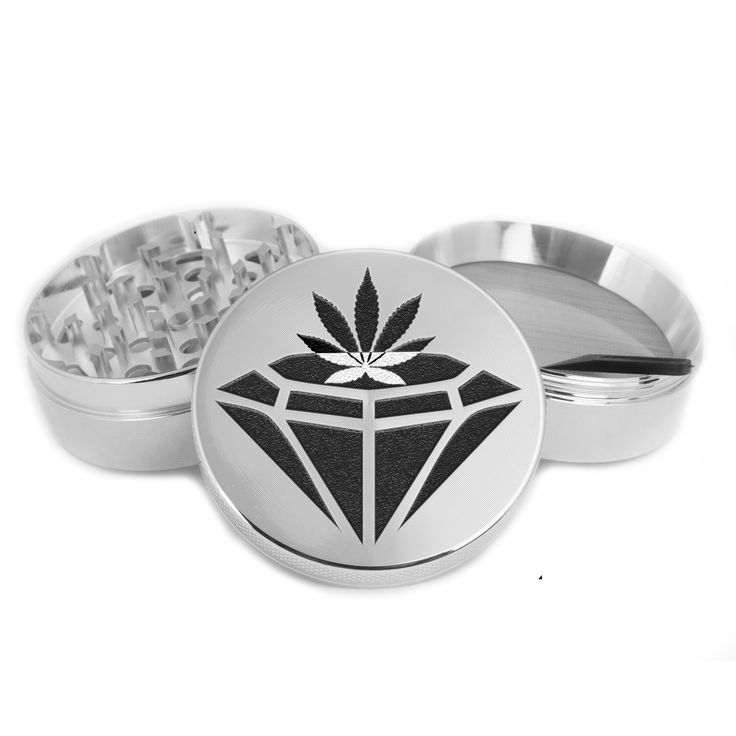 4 Piece Zinc Grinder with Scraper and Free Glass Container Diamond and weed life Design USA ZGR019
