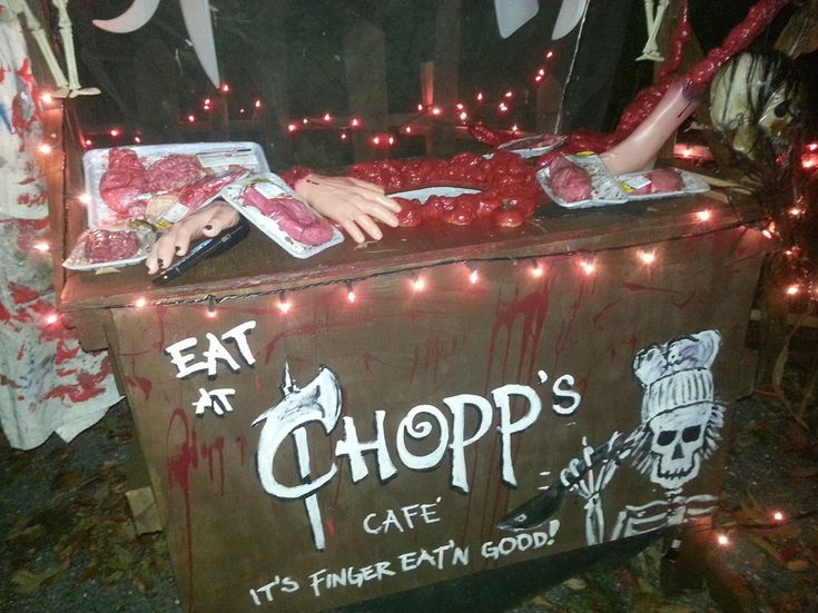 chopps haunted butcher shop for halloween its finger eatin good - Good Halloween Decorations