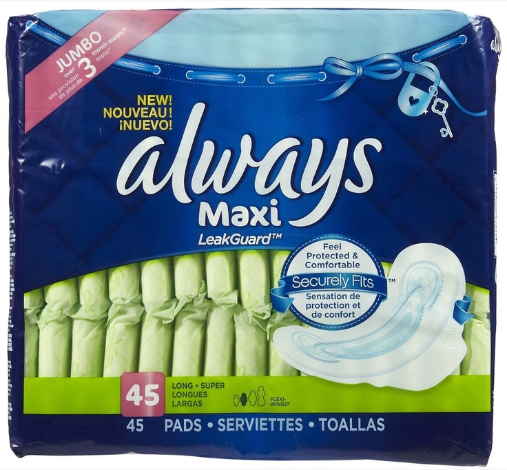 Always Long+Super Maxi Pads with Wings, Unscented