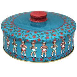 LouLeChien - kers op de kaart - prachtige ronde retro tinnen opbergdoos
