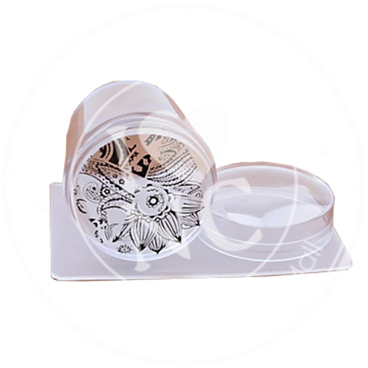 Kaleidoscope clear stamper with lid and matte/clear scraper card