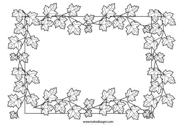Cornicetta con foglie di acero da colorare