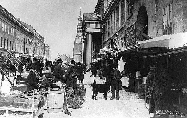 Market day, Bonsecours Market, St. Paul Street, Montreal, QC, about 1870