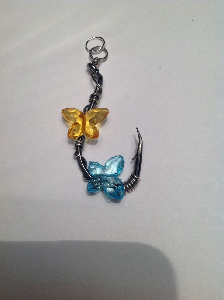 Wire Wrapped Fish Hook with Butterflies BUTTERFLY Fishing Hook Necklace -Real Fish Hook Jewelry BUTTERFLIES  https://www.etsy.com/listing/173629510/wire-wrapped-fish-hook-with-butterflies