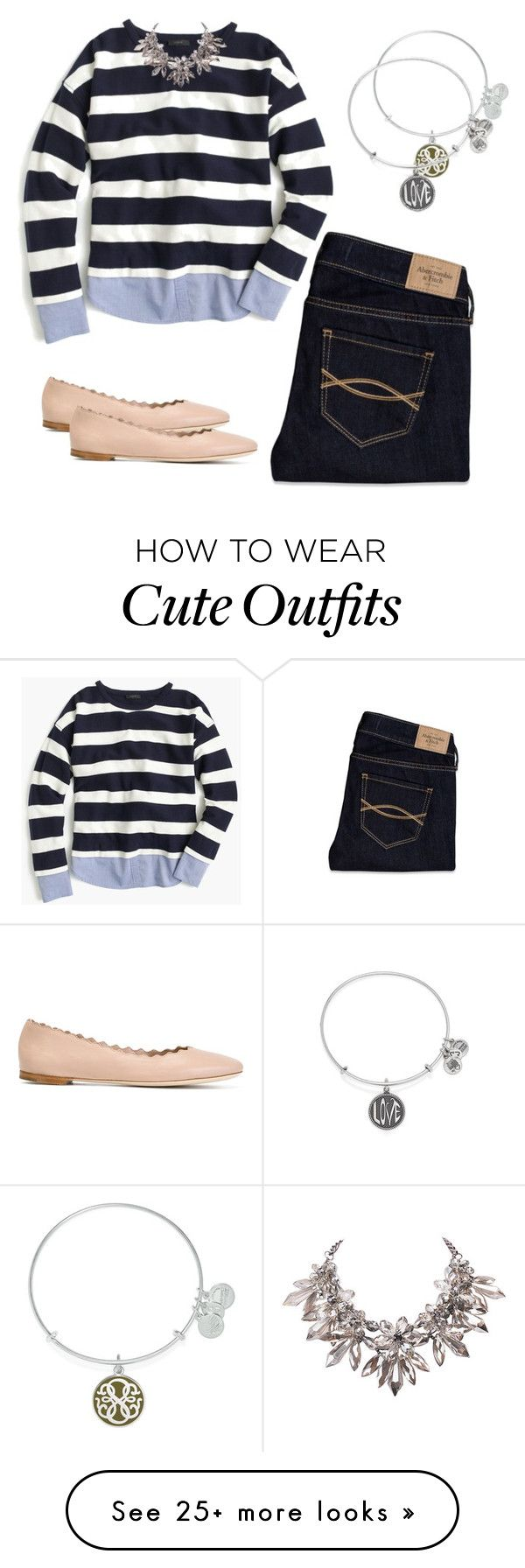 """""""cute school outfit"""" by pinkmuna on Polyvore featuring Abercrombie & Fitch, J.Crew, Alex and Ani and Chloé"""