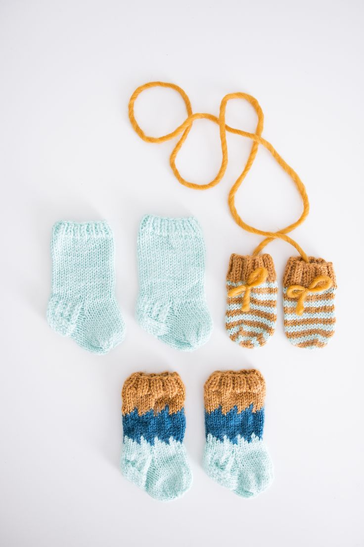 Wool socks + mittens for a baby