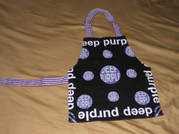 Deep Purple cooking apron for my little boy. Made from an old Deep Purple bandana. Front view. 2010