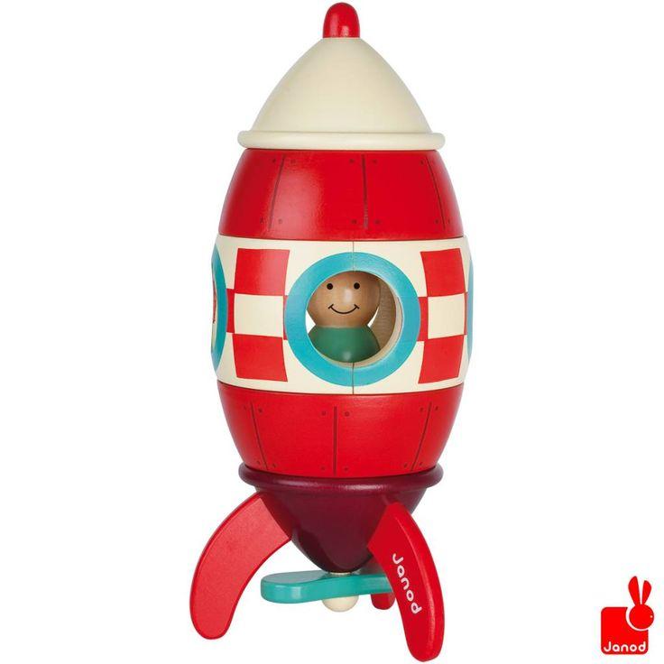 Janod Raket magneet Giant 32cm hoog.  magnetische grote raket met een astronaut  http://www.janod.nl/janod-raket-magneet-giant.html