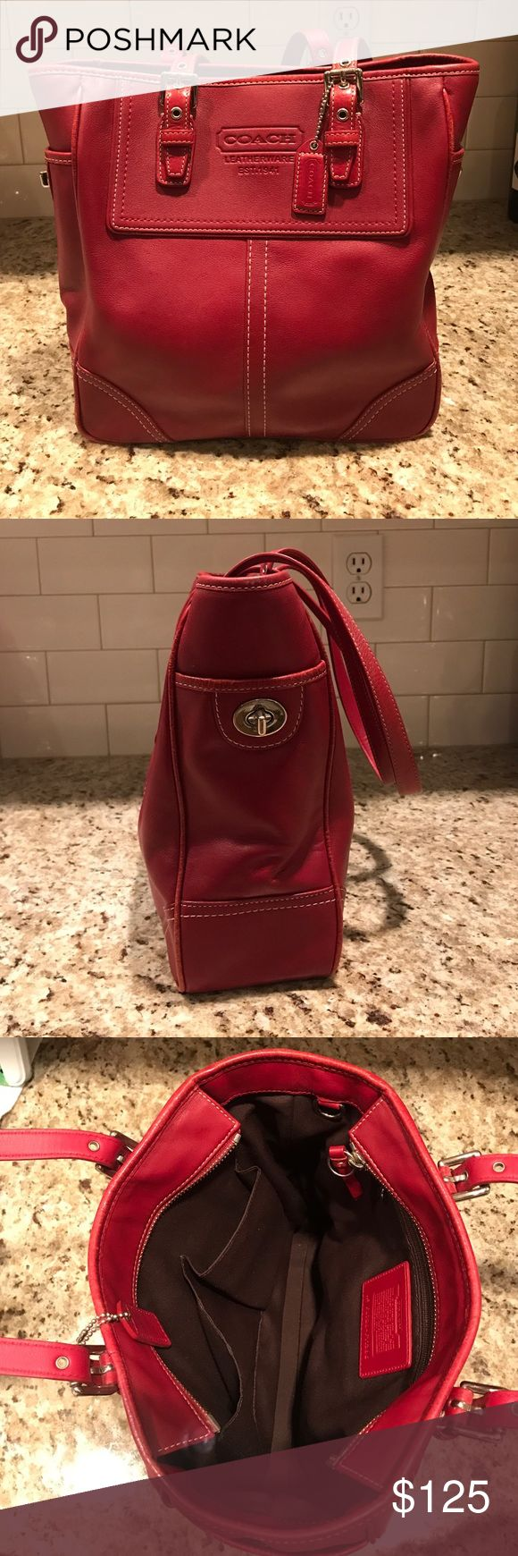 Coach Red Shoulder Bag Coach red Shoulder Bag. Made from genuine cowhide leather. Interior is dark brown material. Interior has one zippered pocket and two open pockets. Zip enclosure at the top of the purse. Great condition and was barely used. Coach Bags Shoulder Bags