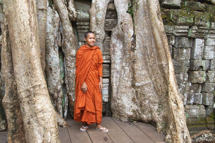 In Thailand and Cambodia, orange / saffron robes are most commonly worn
