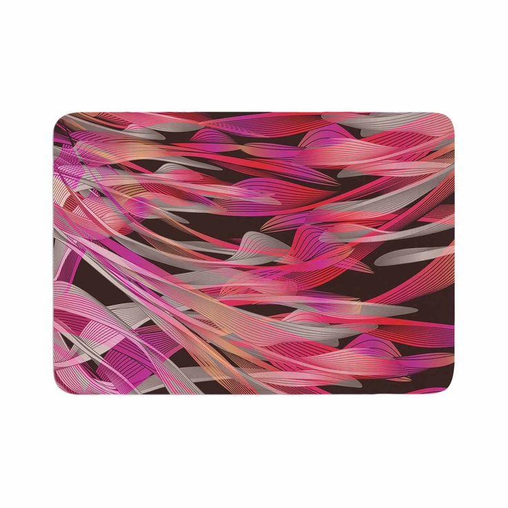 "Angelo Cerantola ""Tropical Electric Pink"" Black Illustration Memory Foam Bath Mat"