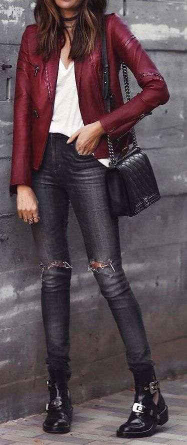 Red Leather Jacket // Ankle Boots // White Top // Skinny Jeans                                                                             Source
