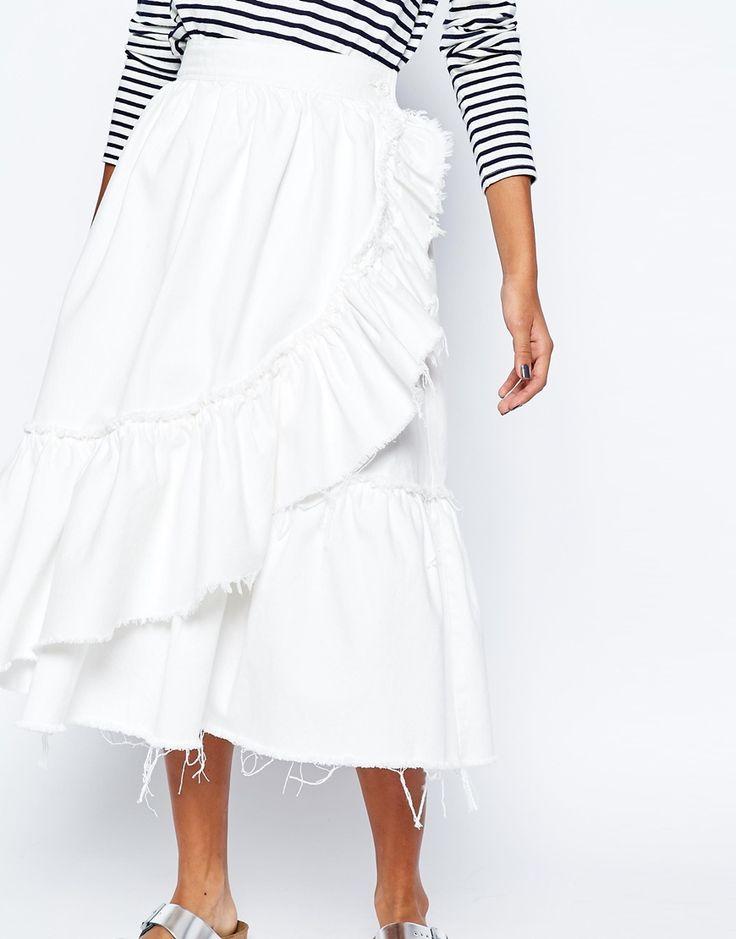 Image 3 ofASOS Denim Raw Hem Ruffle Midi Skirt in White