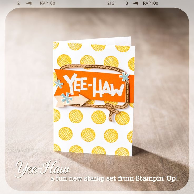 Yee-Haw!! Love this card!: 2 Yee Haw Card Stampin, 2014 2015, Stamps Sets, Stampin Up Card, Photopolym Sets, Dots, Yeehaw, Yee Haw Westerns, Photopolym Stamps