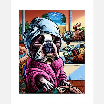 lol so cute!: Design Products, Animal Illustrations, Spa 8X10, Dog Spa, Terriers Art, Dogs Art, Boston Terriers, Dogs Spa, Dogger Dogs