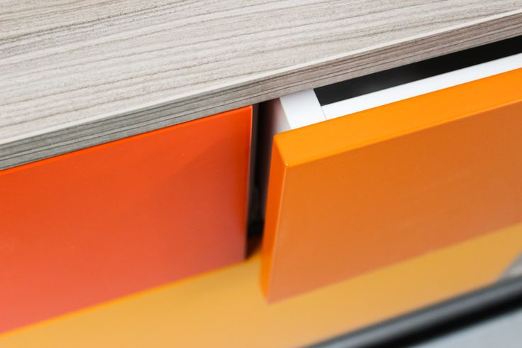 """The Royal Sideboard has a """"touch and go"""" system in the drawers. It means you won't have any trouble by open it. Just press in the center, which the drawer opens and slides very easy. #orangesideboard #modernsideboard #sideboard #contemporarydesign"""