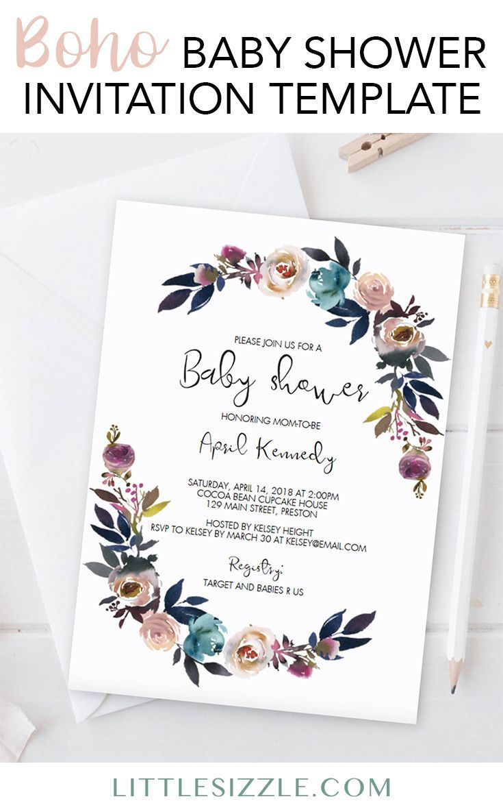 Boho baby shower invitation ideas by LittleSizzle. Create your own bohemian baby shower invitation with this stunning pink and purple floral invite template. Simply download, personalize and print. WOW your guests with your gorgeous floral watercolor baby