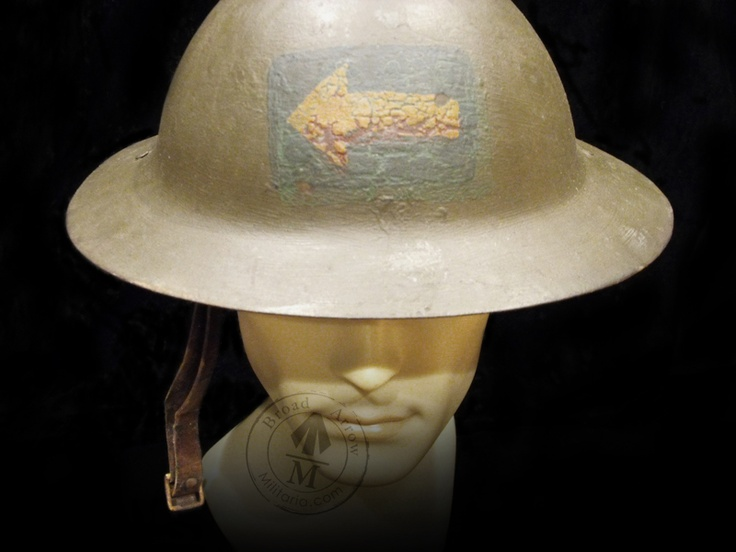 The second issued Helmet for Canada in the Great War. This is an original rimless steel Brodie with MK1 liner issued to the 4th Canadian Machine Gun Battery. This man was wounded at Passchendaele and received the Military Cross for bravery. Note the original colour of the arrow was once red.