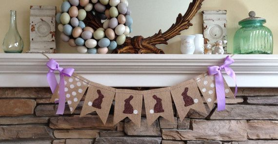 Burlap Easter Banner/Happy Easter Garland/Easter Bunny Banner/Spring Banner/Easter Decorations/Easter Bunting/Easter Photo Prop