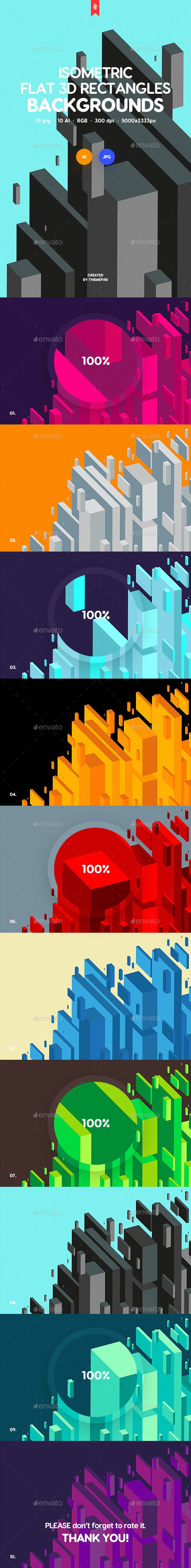 #Isometric #Flat 3D #Rectangles Backgrounds - Abstract Backgrounds