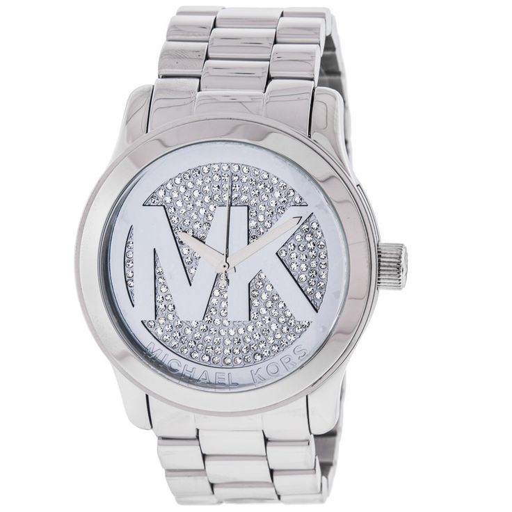 "❤This beautiful timepiece features a dazzling display of crystal stones on the front as well as reliable quartz movement. Complimented by a stainless steel bracelet and ""MK"" logo on the dial."
