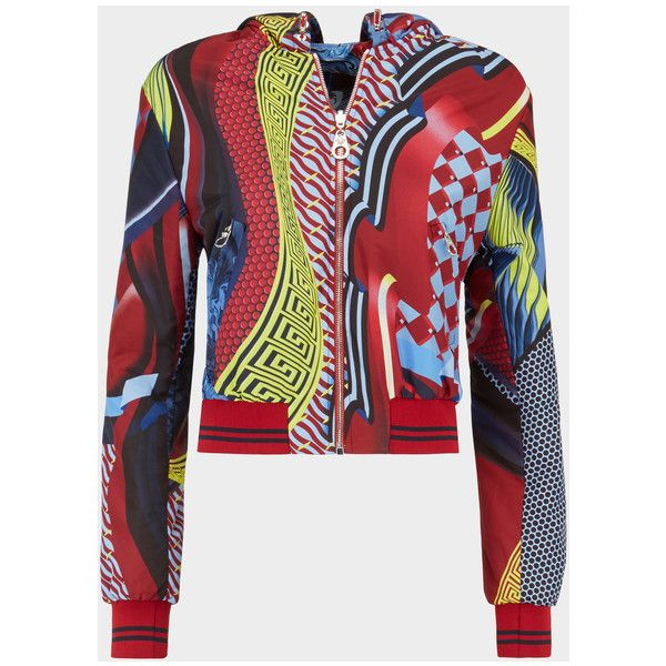 Reversible Energy Wave Bomber ❤ liked on Polyvore featuring outerwear, jackets, patterned bomber jacket, bomber style jacket, baroque jacket, red jacket and reversible hooded jacket