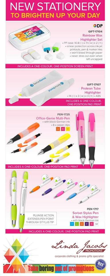 New Stationary to brighten up your day🖋️🖊️  For more info - See more products on our website - http://www.lindajacobspromotions.co.za/ Email: linda@lindajacobspromotions.co.za Call us - 083 6280181 | 021 557 2152