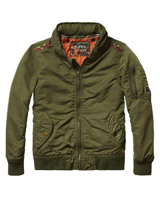 Coated Bomber Jacket #bomber #military #boys