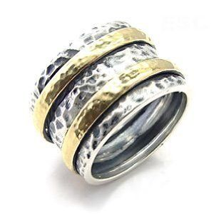 Two Gold Tone Hammered Antique Cocktail Ring SZ 7 Eternal Sparkles. $24.99