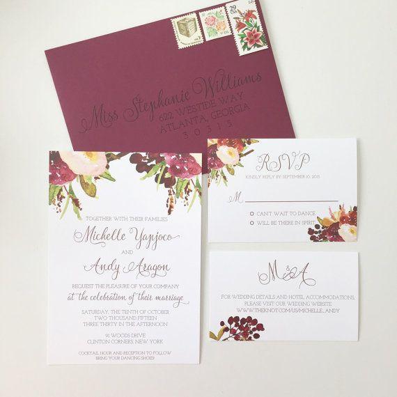 #Marsala #Wedding #Invitation Floral Burgundy by ohmydesignsbySteph