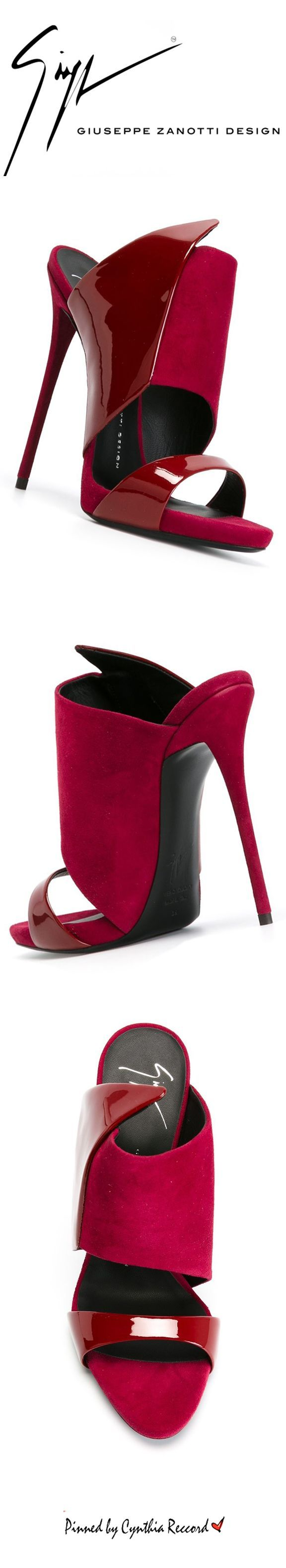 Giuseppe Zanotti Design Structured Panel Mules | FW 2015 | cynthia reccord #mules #heels #red I LOVE the color on these with <3 from JDzigner www.jdzigner.com