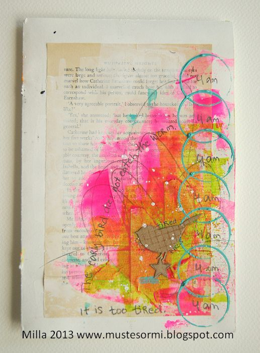 http://artjournaling.tumblr.com/post/63211893423/the-early-bird-by-milla-mustesormi