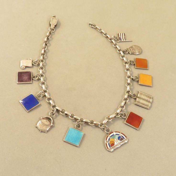 VINTAGE Silver MASONIC Order of the RAINBOW for GIRLS CHARM BRACELET 925 VT10EE   eBay