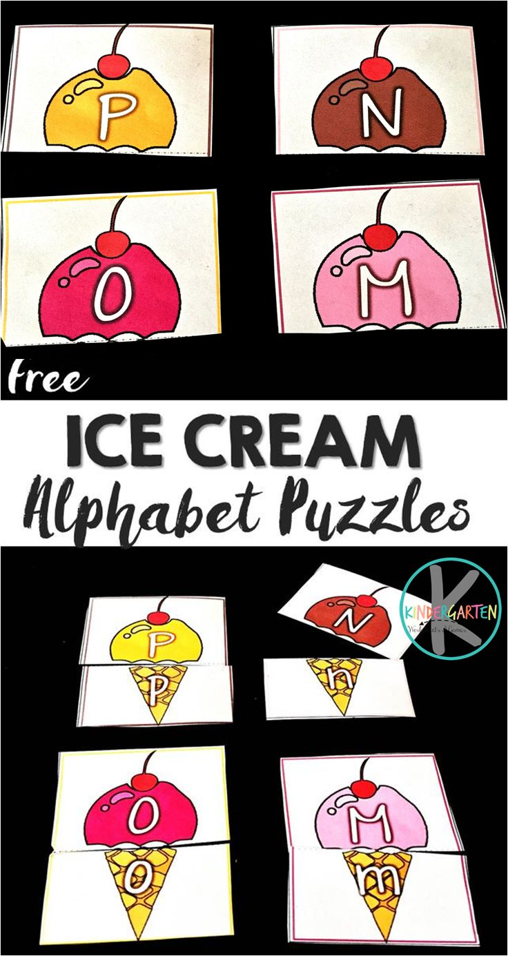 FREE Ice Cream Alphabet Puzzles - these are such a cute way for preschool, prek, and kindergarten age kids to practice matching uppercase letters and lowercase letters with a fun summer theme