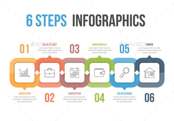 Six Steps #Infographics - #Infographics Download here:  https://graphicriver.net/item/six-steps-infographics/20427227?ref=alena994