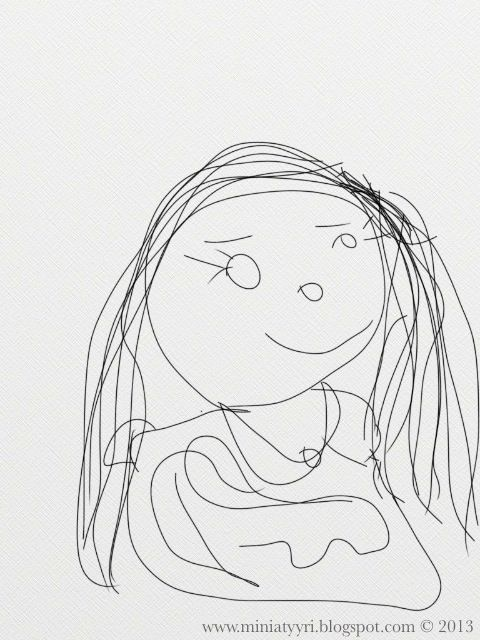 Mother, drawing of a five-year-old child - Viisivuotiaan lapsen piirtämä äiti