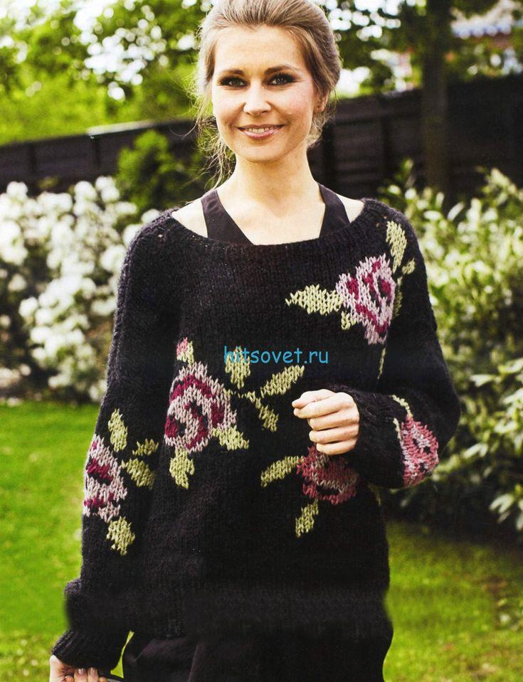 Вязание пуловера с розами