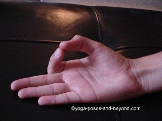 Gyan Mudra o Dhyan Toque el dedo índice y el pulgar juntos y enderezar los dedos restantes. Beneficios: La concentración, el aumento de la atención, reduce los pensamientos negativos. Con la práctica regular, se obtiene una mentalidad fuerte y aumenta la capacidad de memoria, ideal para los niños. Fortalece los nervios del cerebro, cura el insomnio, dolor de cabeza y el estrés. La ira se destruye. Realizar prana mudra después de esto para lograr mejores resultados.