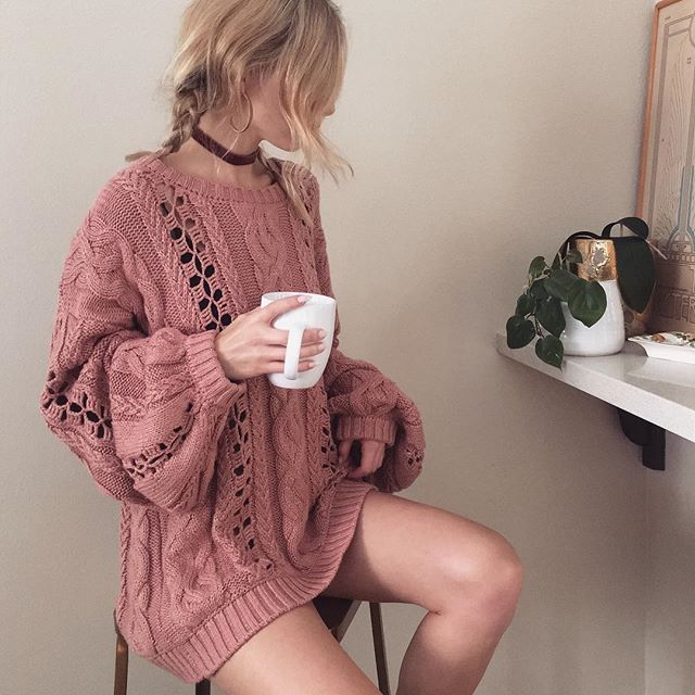"""For Love & Lemons on Instagram: """"Cozy babe in the Wythe Bell Sleeve Sweater ☕️ Shop with link in bio. #ForLoveandLemons #KNITZ"""""""