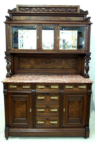 Walnut Marble Top China Buffet Eastlake Curio Sideboard Antique American Dining Room