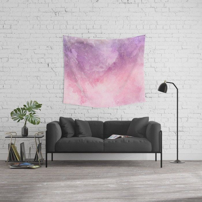 Pink Watercolor Wall Tapestry Pastel Tapestry Bohemian Wall