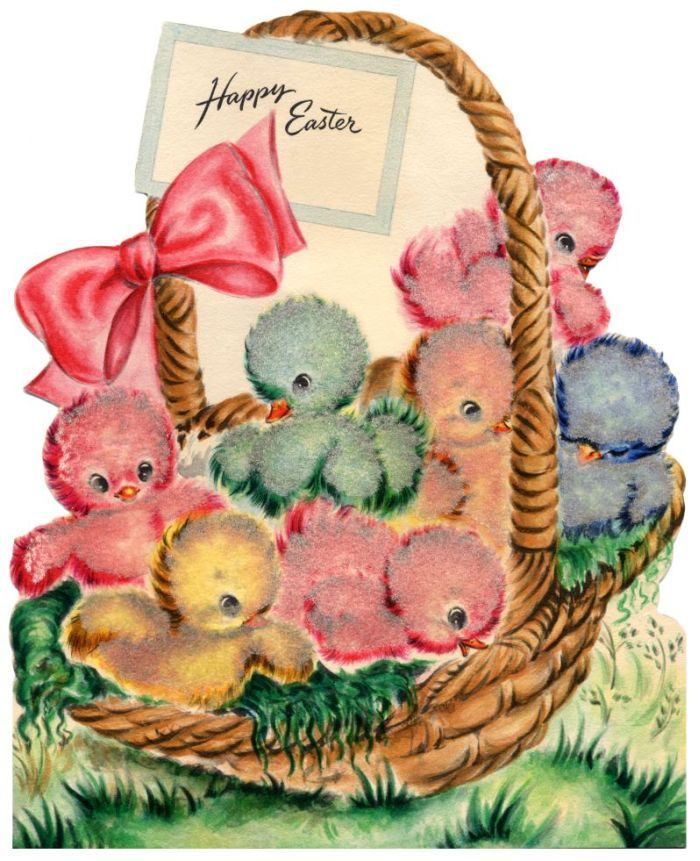 vintage easter card - darling colorful chicks in a basket