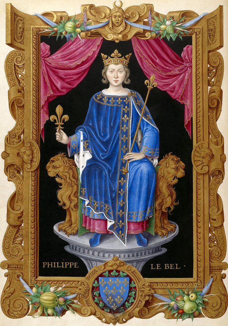 """Philippe IV le Bel - D'après le """"Recueil des rois de France"""" de Jean du Tillet (BnF) - Peinture réalisée d'après l'image gravée sur le grand sceau du roi - XVIe siècle - La chute de l'Ordre du Temple fait l'objet d'une polémique. Elle serait le fait du roi de France Philippe IV le Bel qui aurait agi dans le but unique de s'approprier le trésor des Templiers. Cependant, les raisons pour lesquelles l'Ordre du Temple fut éliminé sont certainement beaucoup plus complexes que cela…"""