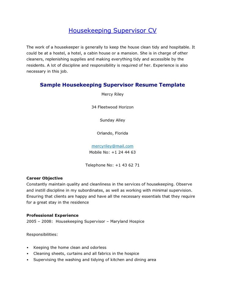 sample housekeeper cover letter nanny ems supervisor housekeeping - housekeeping supervisor resume sample