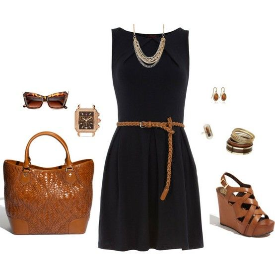 Black dress, brown wedges and purse... cute summer outfit!