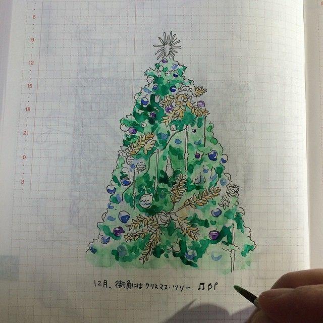 ha_ss 141201 #ほぼ日手帳 #hobonichi #イラスト #illust #12月 #街角にはクリスマスツリー | Use Instagram online! Websta is the Best Instagram Web Viewer!