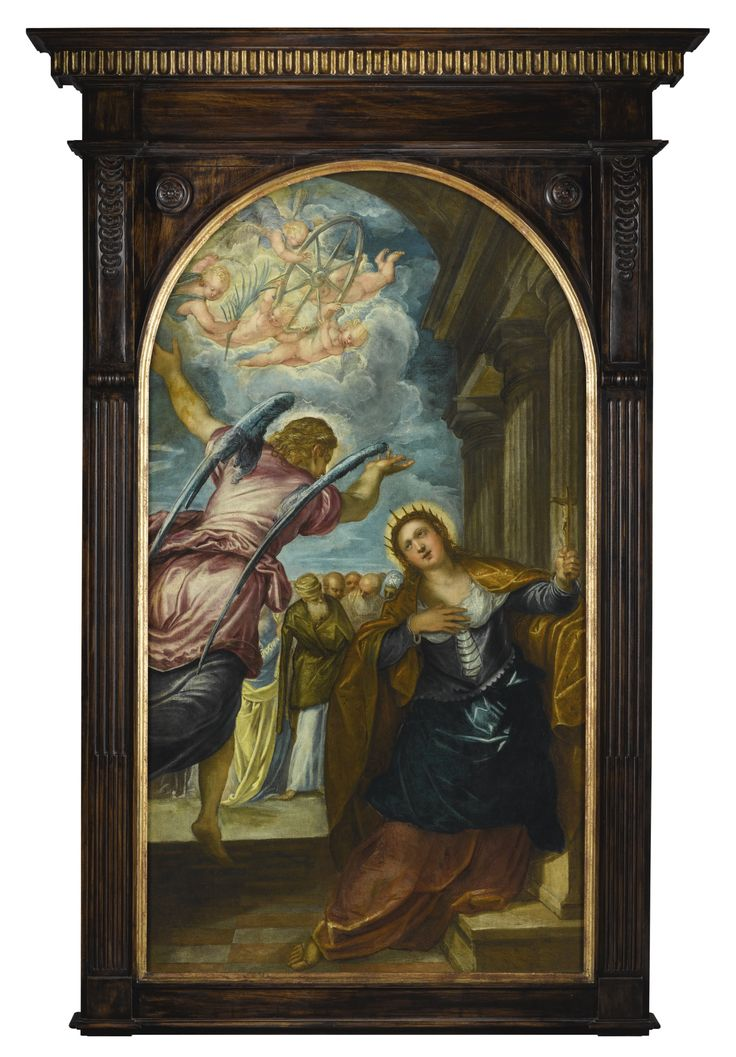 Jacopo Robusti, called Jacopo Tintoretto and Studio VENICE 1518 - 1594 THE ANGEL FORETELLING SAINT CATHERINE OF ALEXANDRIA OF HER MARTYRDOM oil on canvas with an arched top, relined as a rectangle 177.1 by 99.3cm.; 69¾ by 39¼in. Jacopo Tintoretto's The Angel Foretelling Saint Catherine of Alexandria of Her Martyrdom was a star piece in the collection of David Bowie, and a talking point in the recent Bowie/Collector sale. £191,000